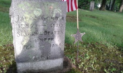 The grave of Jacob Gomber, co-founder of Cambridge, Ohio and veteran of the War of 1812